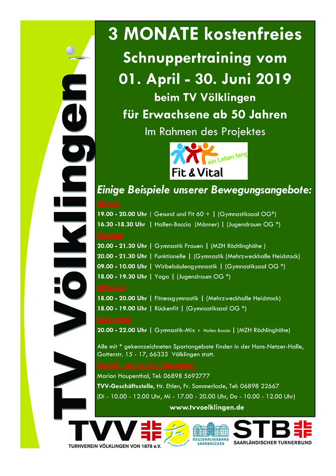 Schnuppertraining vom 01. April - 30. Juni 2019